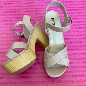 JustFab Nude Platform Sandals